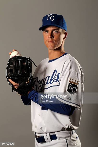 Zack Greinke of the Kansas City Royals poses during photo media day at the Royals spring training complex on February 26 2010 in Surprise Arizona