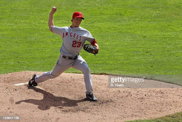 Zack Greinke of the Los Angeles Angels of Anaheim pitches in game one of the double header against the Texas Rangers at Rangers Ballpark in Arlington...