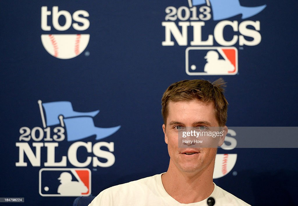 <a gi-track='captionPersonalityLinkClicked' href=/galleries/search?phrase=Zack+Greinke&family=editorial&specificpeople=212804 ng-click='$event.stopPropagation()'>Zack Greinke</a> #21 of the Los Angeles Dodgers answers questions after the Dodgers defeated the St. Louis Cardinals 6-4 in Game Five of the National League Championship Series at Dodger Stadium on October 16, 2013 in Los Angeles, California.