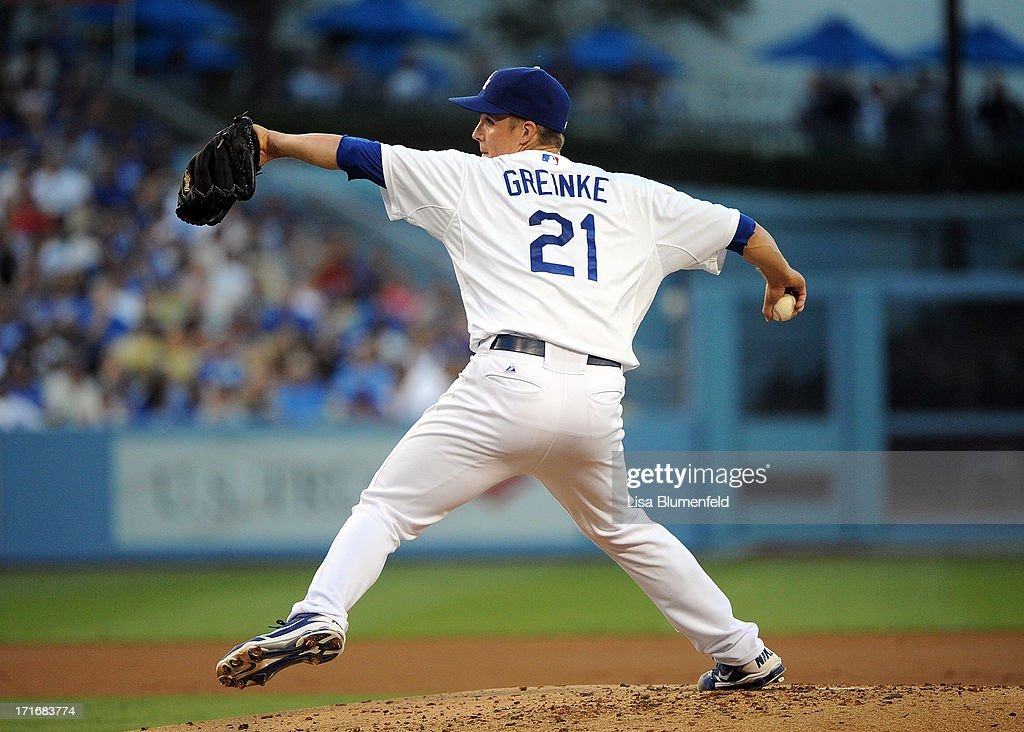 <a gi-track='captionPersonalityLinkClicked' href=/galleries/search?phrase=Zack+Greinke&family=editorial&specificpeople=212804 ng-click='$event.stopPropagation()'>Zack Greinke</a> #21 of the Los Angeles Dodgers pitches against the Philadelphia Phillies at Dodger Stadium on June 27, 2013 in Los Angeles, California.