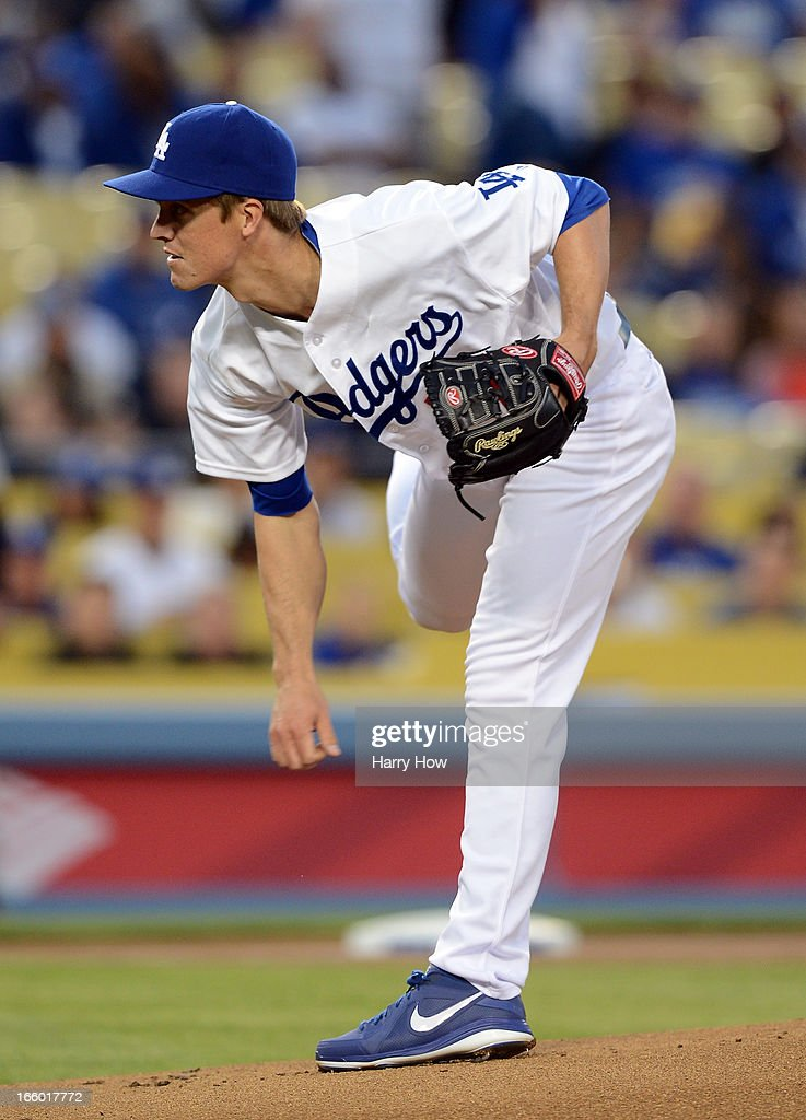 Zack Greinke #21 of the Los Angeles Dodgers pitches during a 3-0 win over the Pittsburgh Pirates at Dodger Stadium on April 5, 2013 in Los Angeles, California.