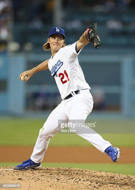 Zack Greinke of the Los Angeles Dodgers pitches during Game 5 of the NLDS against the New York Mets at Dodgers Stadium on Thursday October 15 2015 in...
