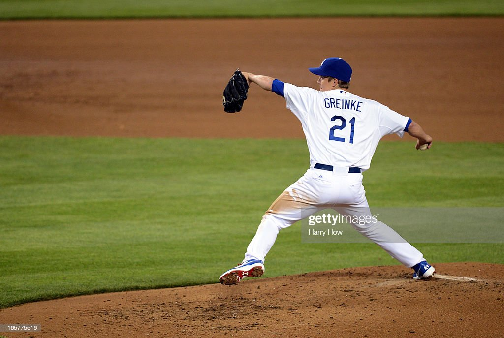 <a gi-track='captionPersonalityLinkClicked' href=/galleries/search?phrase=Zack+Greinke&family=editorial&specificpeople=212804 ng-click='$event.stopPropagation()'>Zack Greinke</a> #21 of the Los Angeles Dodgers pitches during the sixth inning against the Pittsburgh Pirates at Dodger Stadium on April 5, 2013 in Los Angeles, California.