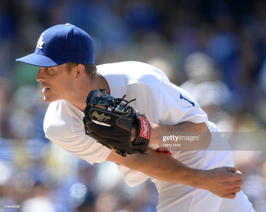 <a gi-track='captionPersonalityLinkClicked' href=/galleries/search?phrase=Zack+Greinke&family=editorial&specificpeople=212804 ng-click='$event.stopPropagation()'>Zack Greinke</a> #21 of the Los Angeles Dodgers pitches during the sixth inning against the Tampa Bay Rays at Dodger Stadium on August 10, 2013 in Los Angeles, California.