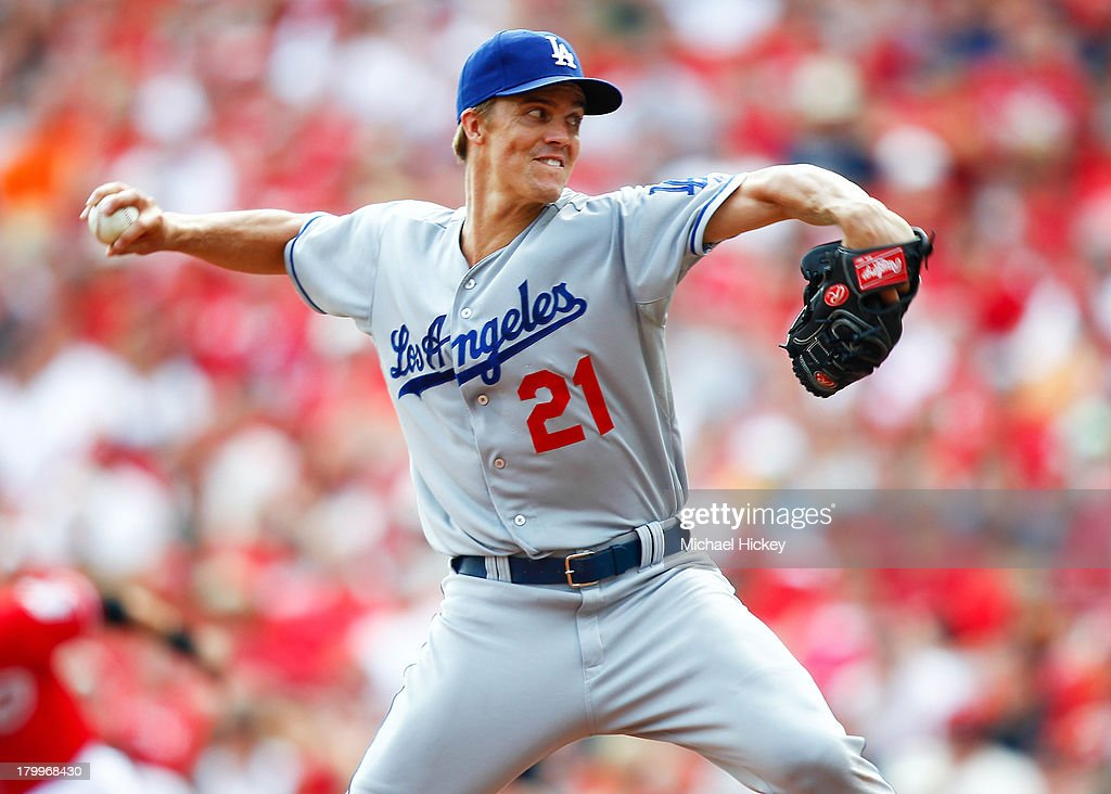 <a gi-track='captionPersonalityLinkClicked' href=/galleries/search?phrase=Zack+Greinke&family=editorial&specificpeople=212804 ng-click='$event.stopPropagation()'>Zack Greinke</a> #21 of the Los Angeles Dodgers pitches in the fifth inning against the Cincinnati Reds at Great American Ball Park on September 7, 2013 in Cincinnati, Ohio. Cincinnati defeated Los Angeles 4-3.