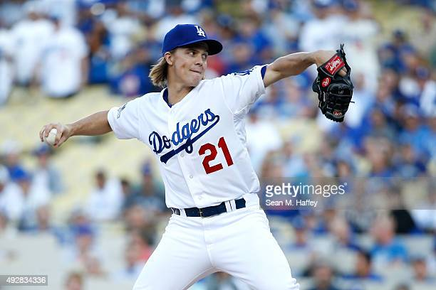 Zack Greinke of the Los Angeles Dodgers pitches in the first inning against the New York Mets in game five of the National League Division Series at...