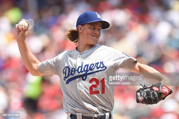 Zack Greinke of the Los Angeles Dodgers pitches in the second inning during a baseball game against the Washington Nationals at Nationals Park on...