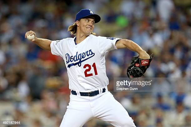 Zack Greinke of the Los Angeles Dodgers pitches in the second inning while taking on the New York Mets in game two of the National League Division...