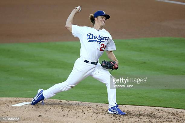 Zack Greinke of the Los Angeles Dodgers pitches in the third inning against the New York Mets in game five of the National League Division Series at...