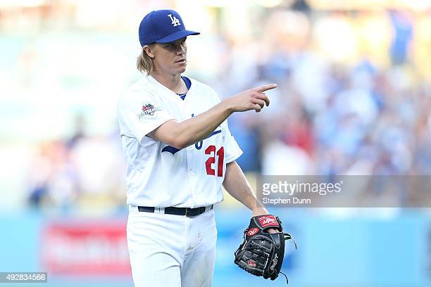 Zack Greinke of the Los Angeles Dodgers reacts after the final out in the first inning against the New York Mets in game five of the National League...