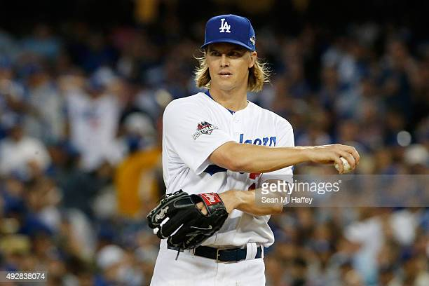 Zack Greinke of the Los Angeles Dodgers reacts on the mound while taking on the New York Mets in game five of the National League Division Series at...
