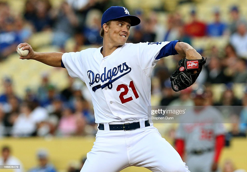 <a gi-track='captionPersonalityLinkClicked' href=/galleries/search?phrase=Zack+Greinke&family=editorial&specificpeople=212804 ng-click='$event.stopPropagation()'>Zack Greinke</a> #21 of the Los Angeles Dodgers throws a pitch against the Washington Nationals at Dodger Stadium on May 15, 2013 in Los Angeles, California.