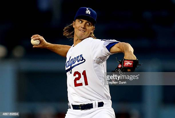 Zack Greinke of the Los Angeles Dodgers throws a pitch against the San Francisco Giants at Dodger Stadium on September 1 2015 in Los Angeles...