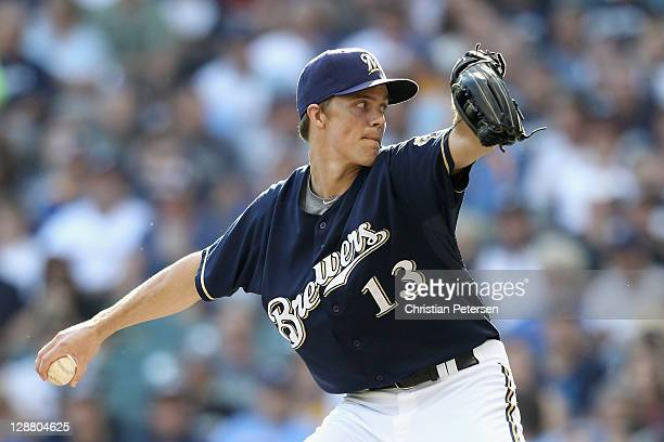 Zack Greinke of the Milwaukee Brewers throws a pitch against the St Louis Cardinals during Game one of the National League Championship Series at...