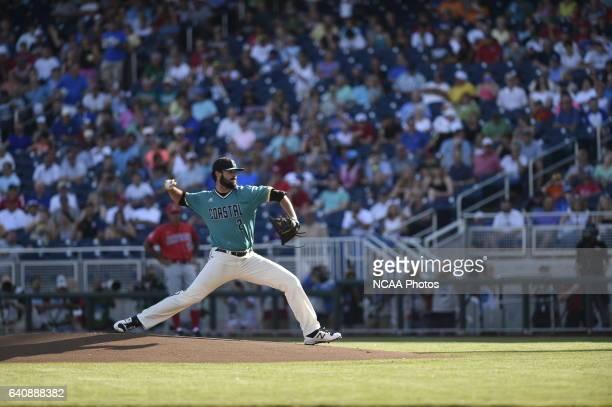 Zack Hopeck of Coastal Carolina University delivers a pithc against University of Arizona during the Division I Men's Baseball Championship held at...