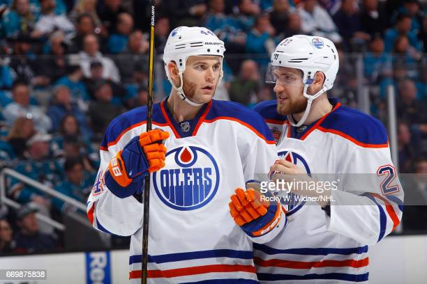 Zack Kassian and Leon Draisaitl of the Edmonton Oilers talk during the game against the San Jose Sharks in Game Three of the Western Conference First...