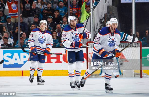 Zack Kassian of the Edmonton Oilers celebrates after scoring a goal against the San Jose Sharks in Game Three of the Western Conference First Round...