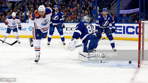 Zack Kassian of the Edmonton Oilers celebrates his goal against Andrei Vasilevskiy of the Tampa Bay Lightning at the Amalie Arena on January 19 2016...