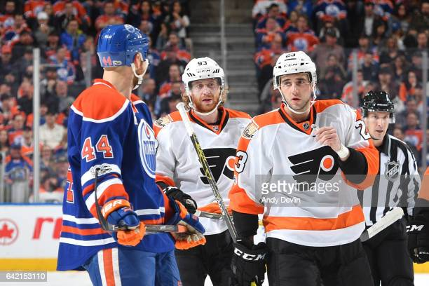 Zack Kassian of the Edmonton Oilers exchanges words with Brandon Manning of the Philadelphia Flyers on February 16 2017 at Rogers Place in Edmonton...