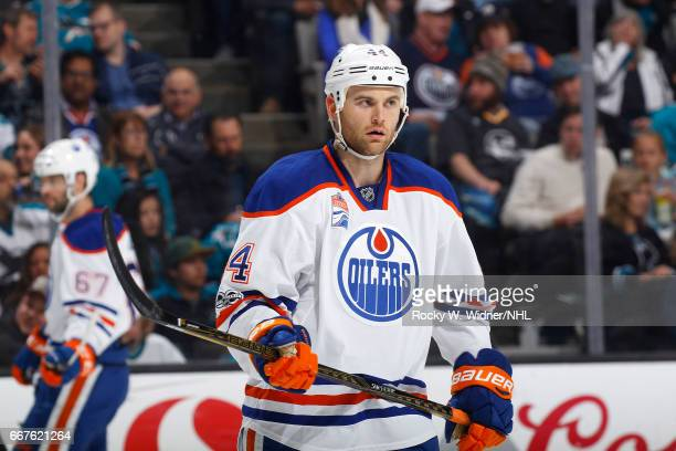 Zack Kassian of the Edmonton Oilers looks on during the game against the San Jose Sharks at SAP Center on April 6 2017 in San Jose California