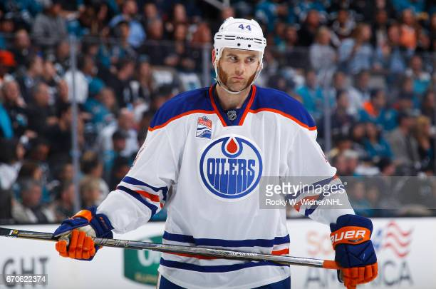Zack Kassian of the Edmonton Oilers looks on during the game against the San Jose Sharks in Game Four of the Western Conference First Round during...
