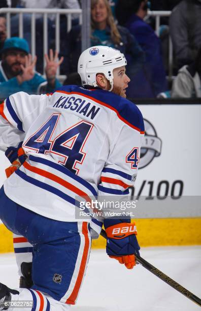 Zack Kassian of the Edmonton Oilers skates against the San Jose Sharks in Game Four of the Western Conference First Round during the 2017 NHL Stanley...