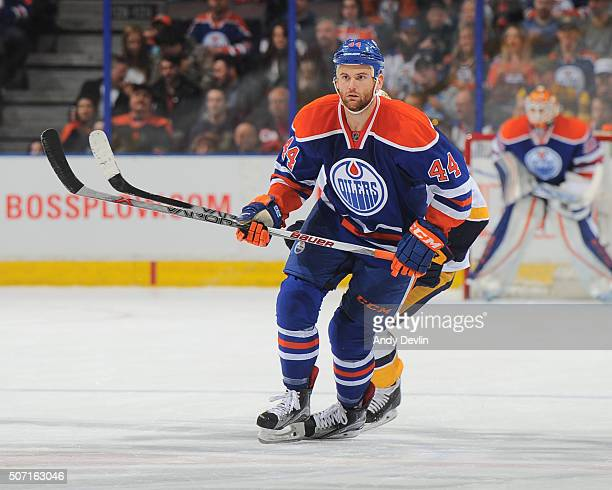 Zack Kassian of the Edmonton Oilers skates during a game against the Nashville Predators on January 23 2016 at Rexall Place in Edmonton Alberta Canada