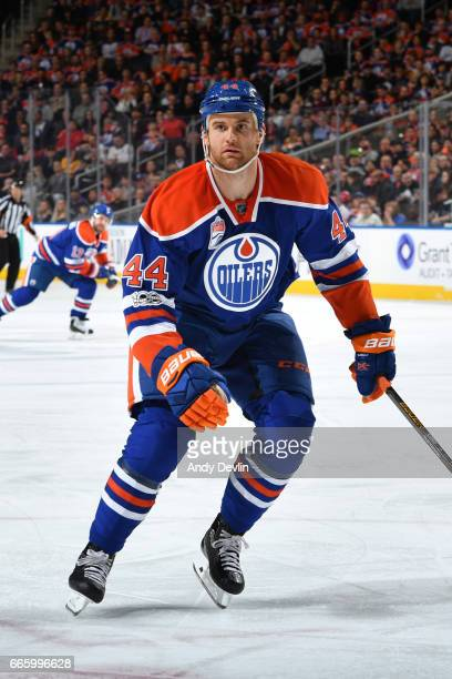 Zack Kassian of the Edmonton Oilers skates during the game against the Los Angeles Kings on March 28 2017 at Rogers Place in Edmonton Alberta Canada