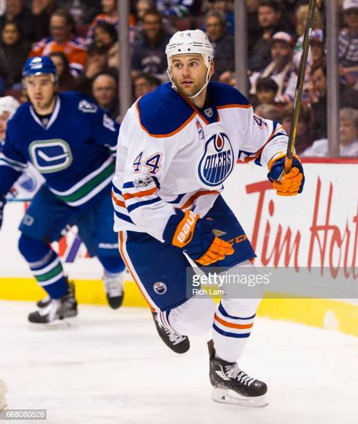 Zack Kassian of the Edmonton Oilers skates in NHL action against the Vancouver Canucks on April 8 2017 at Rogers Arena in Vancouver British Columbia...