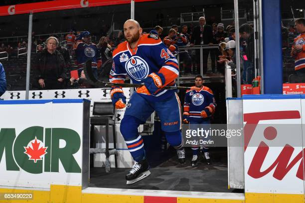Zack Kassian of the Edmonton Oilers steps onto the ice prior to the game against the New York Islanders on March 7 2017 at Rogers Place in Edmonton...