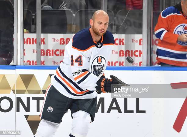 Zack Kassian of the Edmonton Oilers warms up prior to the preseason game against the Winnipeg Jets on September 23 2017 at Rogers Place in Edmonton...