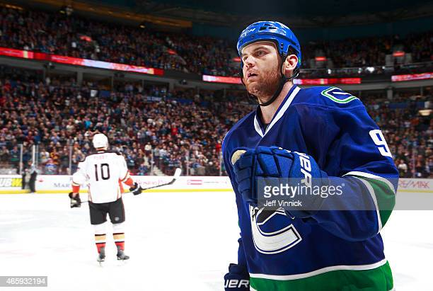 Zack Kassian of the Vancouver Canucks skates to the bench during their NHL game against the Anaheim Ducks at Rogers Arena March 9 2015 in Vancouver...
