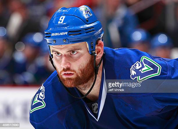 Zack Kassian of the Vancouver Canucks skates up ice during their NHL game against the Montreal Canadiens at Rogers Arena October 30 2014 in Vancouver...