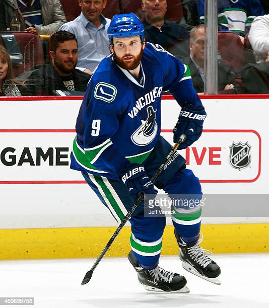Zack Kassian of the Vancouver Canucks skates up ice during their NHL game against the Anaheim Ducks at Rogers Arena November 20 2014 in Vancouver...