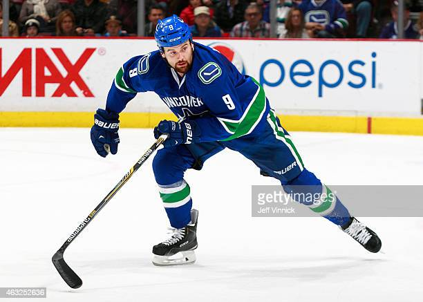 Zack Kassian of the Vancouver Canucks skates up ice during their NHL game against the Pittsburgh Penguins at Rogers Arena February 7 2015 in...
