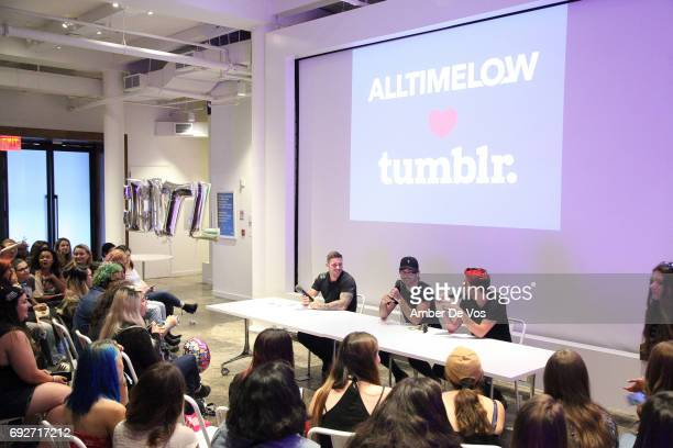 Zack Merrick Alex Gaskarth and Jack Barakat of All Time Low at Tumblr x All Time Low Fan Event at Tumblr HQ on June 2 2017 in New York City