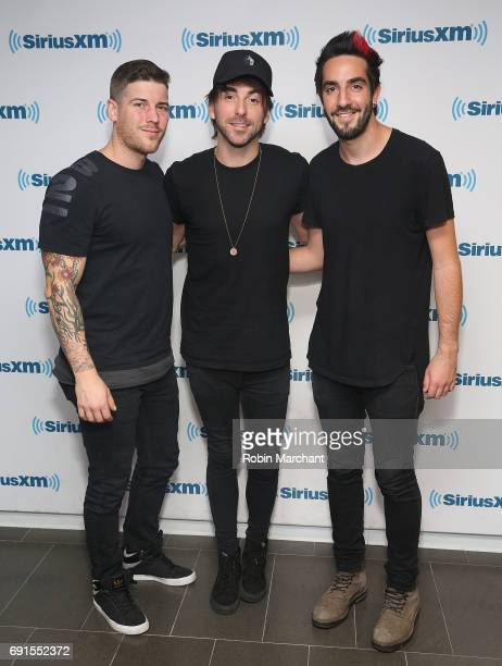 Zack Merrick Alex Gaskarth and Jack Barakat of All Time Low visit at SiriusXM Studios on June 2 2017 in New York City