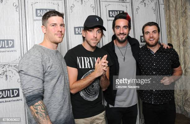 Zack Merrick Alex Gaskarth Jack Barakat and Rian Dawson of the music group All Time Low attend Build Presents All Time Low discussing their new album...