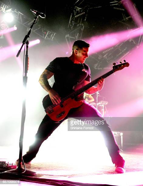 Zack Merrick of All Time Low performs at O2 Apollo Manchester on March 23 2017 in Manchester United Kingdom