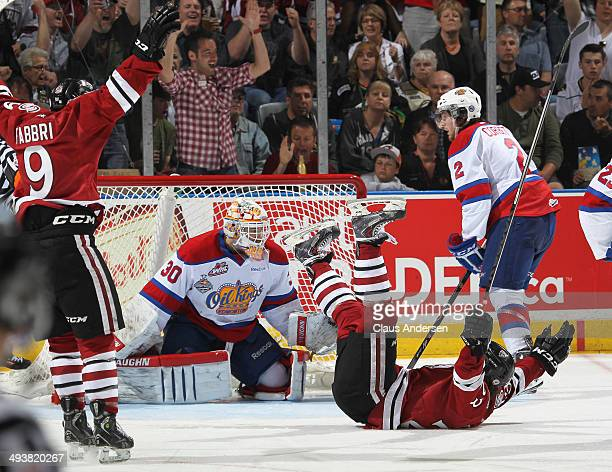 Zack Mitchell of the Guelph Storm celebrates his goal against the Edmonton Oil Kings during the final of the 2014 MasterCard Memorial Cup at...