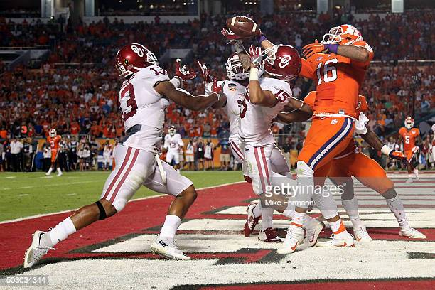 Zack Sanchez of the Oklahoma Sooners intercepts a pass in the end zone against the Clemson Tigers in the second quarter during the 2015 Capital One...