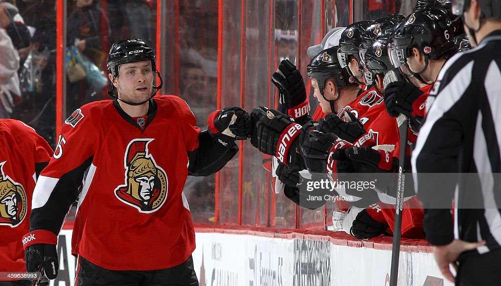 Zack Smith #15 of the Ottawa Senators celebrates his second-period short-handed goal against the Boston Bruins during an NHL game at Canadian Tire Centre on December 28, 2013 in Ottawa, Ontario, Canada.