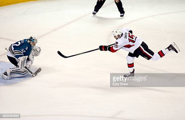 Zack Smith of the Ottawa Senators makes a penalty shot against Alex Stalock of the San Jose Sharks in the third period at SAP Center on January 18...