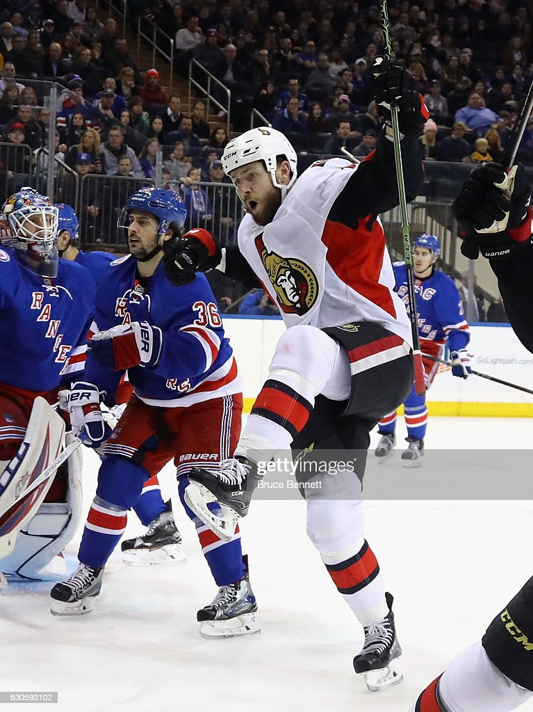 Zack Smith #15 of the Ottawa Senators scores at 3:10 of the first period against the New York Rangers at Madison Square Garden on December 27, 2016 in New York City.