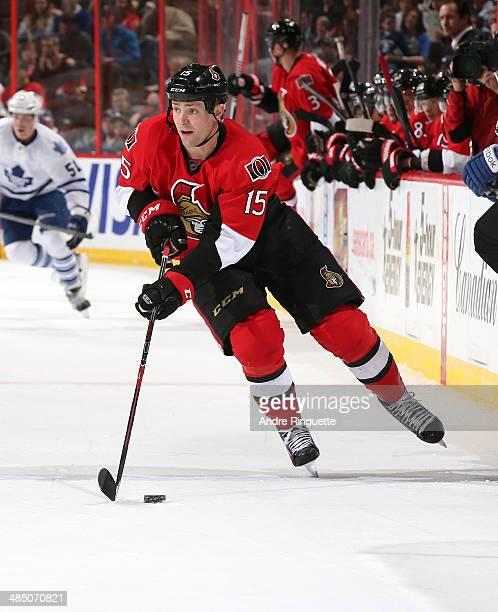 Zack Smith of the Ottawa Senators skates against the Toronto Maple Leafs at Canadian Tire Centre on April 12 2014 in Ottawa Ontario Canada