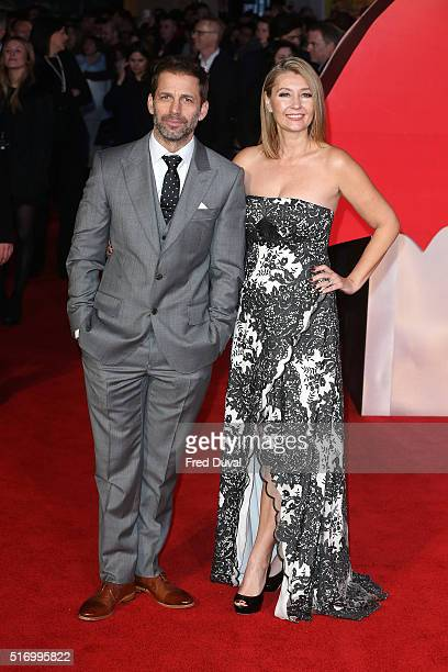 Zack Snyder and Deborah Snyder attend the European Premiere of 'Batman v Superman Dawn Of Justice' at Odeon Leicester Square on March 22 2016 in...
