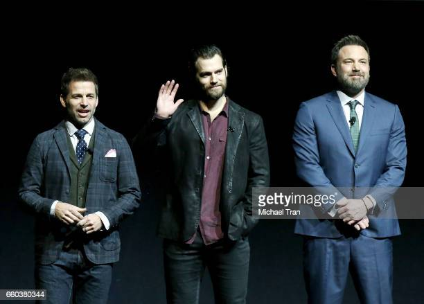 Zack Snyder Henry Cavill and Ben Affleck speak onstage at the CinemaCon 2017 Warner Bros Pictures presentation held at The Colosseum at Caesars...