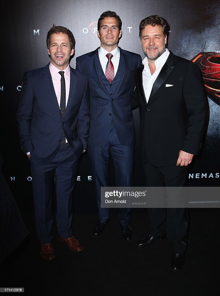<a gi-track='captionPersonalityLinkClicked' href=/galleries/search?phrase=Zack+Snyder&family=editorial&specificpeople=834481 ng-click='$event.stopPropagation()'>Zack Snyder</a>, <a gi-track='captionPersonalityLinkClicked' href=/galleries/search?phrase=Henry+Cavill&family=editorial&specificpeople=3767741 ng-click='$event.stopPropagation()'>Henry Cavill</a> and <a gi-track='captionPersonalityLinkClicked' href=/galleries/search?phrase=Russell+Crowe&family=editorial&specificpeople=202609 ng-click='$event.stopPropagation()'>Russell Crowe</a> attend the 'Man Of Steel' Australian Premiere at Event Cinemas, George Street on June 24, 2013 in Sydney, Australia.
