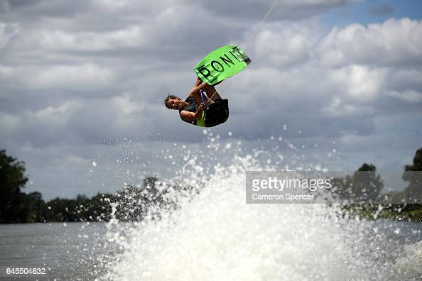 Zack Webb competes in the NSW Wakeboarding State Titles at Governor Phillip Park in Windsor on February 26 2017 in Sydney Australia