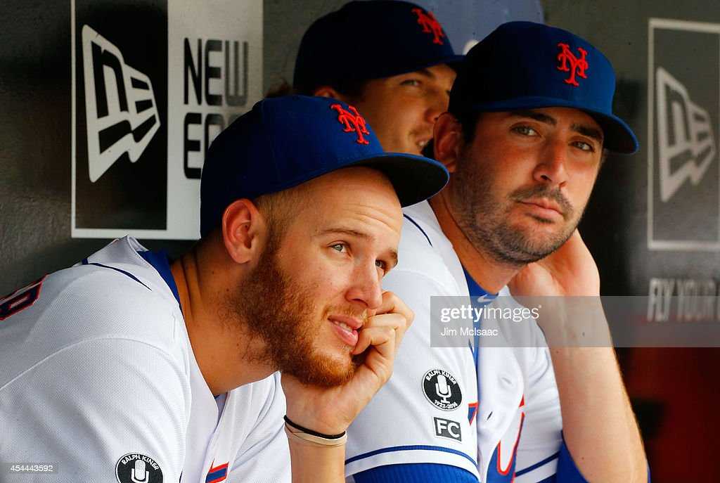 <a gi-track='captionPersonalityLinkClicked' href=/galleries/search?phrase=Zack+Wheeler&family=editorial&specificpeople=7091383 ng-click='$event.stopPropagation()'>Zack Wheeler</a> #45 (L) and Matt Harvey #33 of the New York Mets look on against the Philadelphia Phillies at Citi Field on August 31, 2014 in the Flushing neighborhood of the Queens borough of New York City. The Mets defeated the Phillies 6-5.